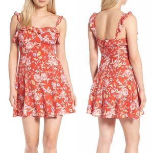 ASTR Red floral ruffle strap mini dress size med